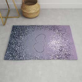 Lavender Navy Blue Glitter Hearts #1 (Faux Glitter) #shiny #decor #art #society6 Rug