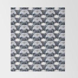 pug Dog illustration original painting print Throw Blanket