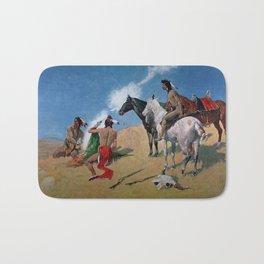 "Frederic Remington Western Art ""Smoke Signals"" Bath Mat"