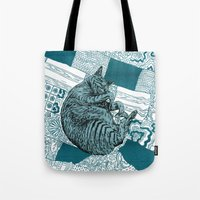 calvin and hobbes Tote Bags featuring Blue Hobbes by Maritsa Patrinos