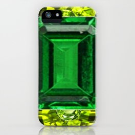 EMERALDS &  LIME GREEN PERIDOT GEMS BIRTHSTONES iPhone Case