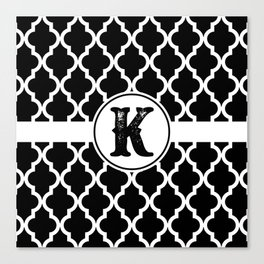 Black Monogram: Letter K Canvas Print