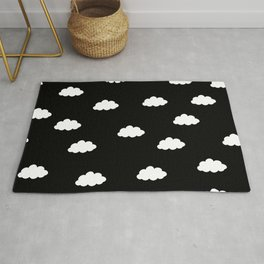 White clouds in black background Rug