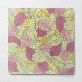 Vector Seamless Leaves Pattern Metal Print