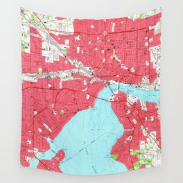 Vintage Map of Jacksonville Florida (1964) 2 Wall Tapestry