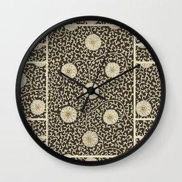 Retro Floral Black Wall Clock
