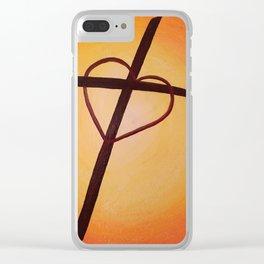 Heart Cross on Orange Clear iPhone Case