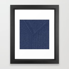 Lines / Navy Framed Art Print