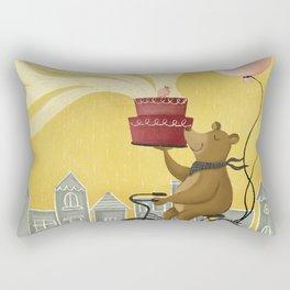Bear on a Bike Illustration Rectangular Pillow