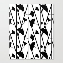 Black and white ginkgo Canvas Print