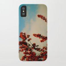pink flowers iPhone X Slim Case