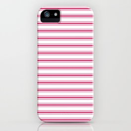 Bright Pink Peacock Mattress Ticking Wide Striped Pattern - Fall Fashion 2018 iPhone Case
