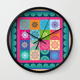 Colorful Bohemian Patchwork Wall Clock