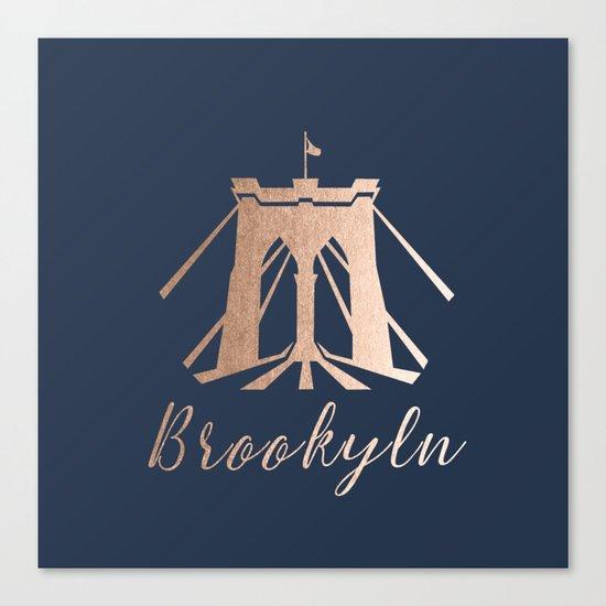 Rosegold on Navy Brooklyn Bridge Canvas Print