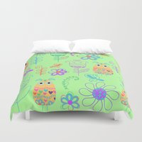 owls Duvet Covers featuring Owls by luizavictoryaPatterns