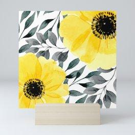 Big yellow watercolor flowers Mini Art Print