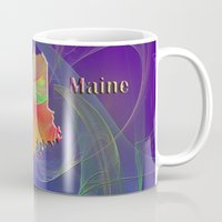maine Mugs featuring Maine Map by Roger Wedegis