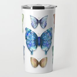 Butterfly Taxidermy // Beautiful Mandala Detailed Wings Design // Lime Green, Bright Blue, Gold Travel Mug