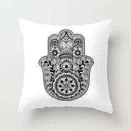 Black and White Hamsa Hand Throw Pillow