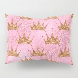 Princess Glitter Gold Crowns on Lollipop Pink Pillow Sham