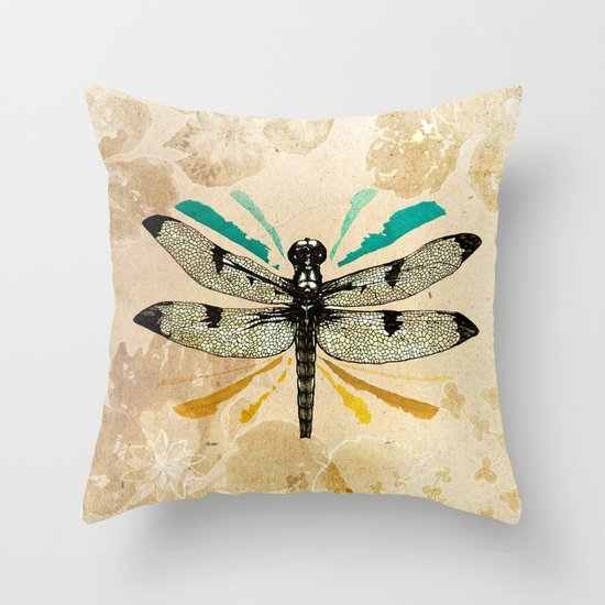 Throw Pillow With Dragonfly : Autumn dragonfly Throw Pillow by Ankastan Society6