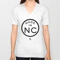 north carolina V-neck T-shirts featuring NC North Carolina (black) by DCMBR - December Creative Group