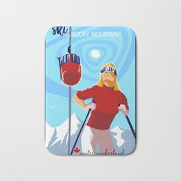 Retro ski Rocky Mountain poster Bath Mat