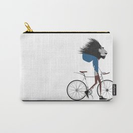 Hipster Lion and his Bicycle Carry-All Pouch
