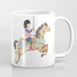 Merry-Go-Round: Girl with Red Boots on a Carousel Coffee Mug