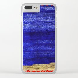 V24 New Blue Calm Traditional Moroccan Carpet Texture. Clear iPhone Case