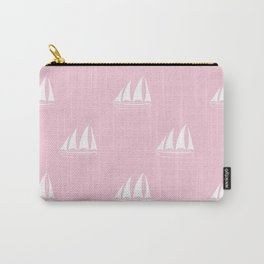 White Sailboat Pattern on pink background Carry-All Pouch