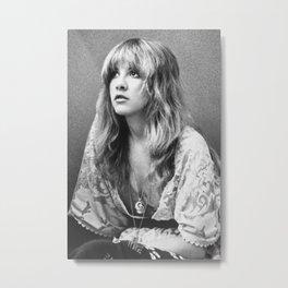 Stevie Nicks Young Black and white Retro Silk Poster Frameless Metal Print