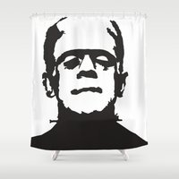 frankenstein Shower Curtains featuring Frankenstein by b & c
