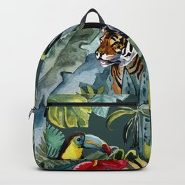 Jungle with tiger and tucan Backpack