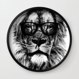 Hipster Lion White Wall Clock