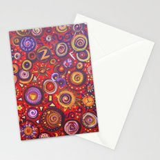 Red Square Abstract Painting Stationery Cards