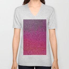 Modern pink purple ombre faux glitter color block Unisex V-Neck