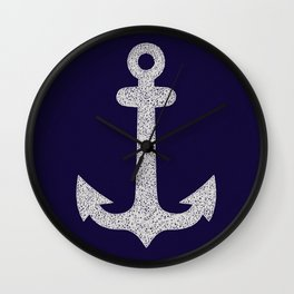 White Anchor on Blue Background Wall Clock