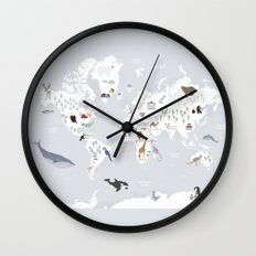 Animal Map of the world Wall Clock