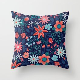 Navy & Coral Floral Pattern Throw Pillow