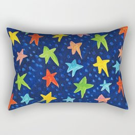 Starry Night Acrylic Painting Rainbow Rectangular Pillow
