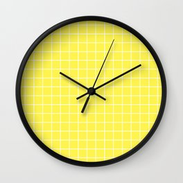 Lemon yellow - yellow color - White Lines Grid Pattern Wall Clock