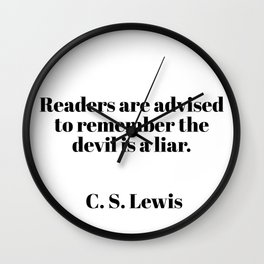 readers are advised - C.S. Lewis quote Wall Clock