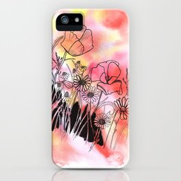 wildflowers in watercolor and ink iPhone Case