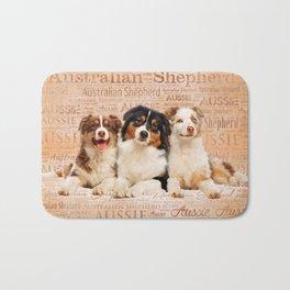 Australian Shepherd dogs  on Word Cloud 1 Bath Mat