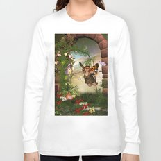 Cute little fairy in the garden Long Sleeve T-shirt