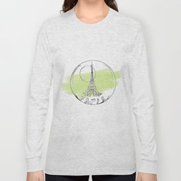 paris in a glass ball . green pastel colors Long Sleeve T-shirt