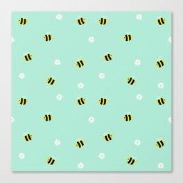Bees and daisies Canvas Print