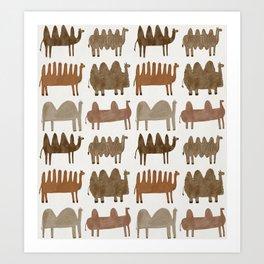 Funny camels Art Print