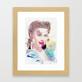 Hedy Lamarr, colorized from a 1942 promo still of her movie Tortilla Flat watercolor by Ahmet Asar Framed Art Print